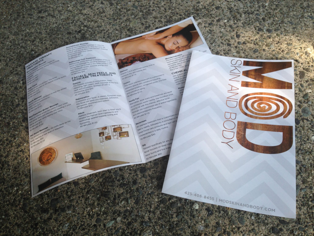 Brochure for MOD Skin and Body printed by Ontra Marketing Group in Woodinville, WA