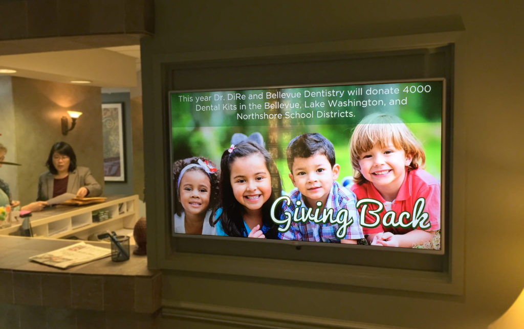 Bellevue Dentistry Digital Signage designed by Ontra Marketing Group in Woodinville, WA